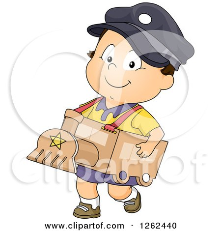 Clipart of a Toddler Baby Boy Wearing a Cardboard Train Costume - Royalty Free Vector Illustration by BNP Design Studio