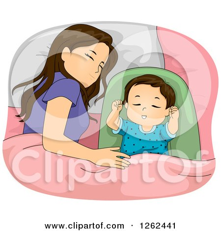 Clipart of a Brunette White Mother Sleeping with Her Baby Daughter - Royalty Free Vector Illustration by BNP Design Studio