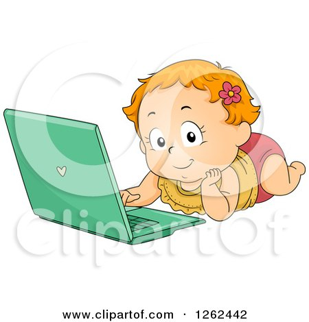 Clipart of a Red Haired White Toddler Girl Using a Laptop on the Floor - Royalty Free Vector Illustration by BNP Design Studio