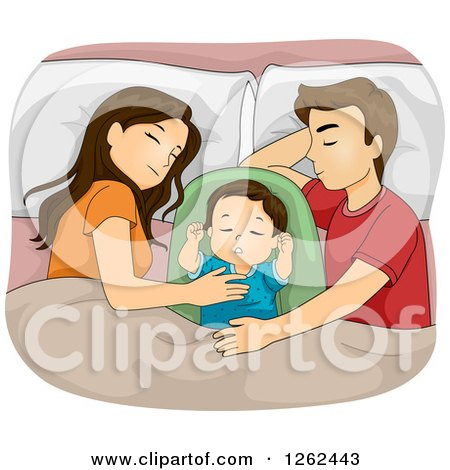 Clipart of a Brunette Caucasian Mother and Father Sleeping with Their Baby - Royalty Free Vector Illustration by BNP Design Studio