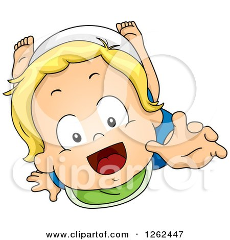 Clipart of a Blond White Toddler Boy Crawling and Reaching up - Royalty Free Vector Illustration by BNP Design Studio