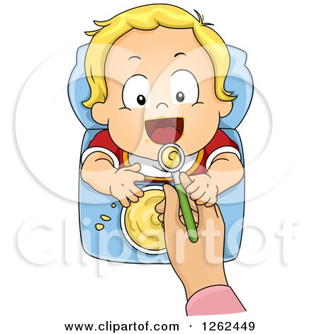 Clipart of a Blond White Toddler Boy Being Spood Fed Cereal - Royalty Free Vector Illustration by BNP Design Studio