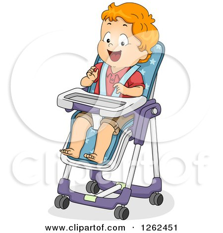 Clipart of a Red Haired White Toddler Boy Sitting in a High Chair - Royalty Free Vector Illustration by BNP Design Studio