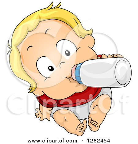Clipart of a Blond White Baby Boy Drinking Formula from a Bottle - Royalty Free Vector Illustration by BNP Design Studio