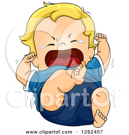 Clipart of a Blond White Toddler Boy Throwing a Tantrum - Royalty Free Vector Illustration by BNP Design Studio