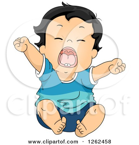 Cartoon Clipart Of A Black And White Tired Boy Yawning