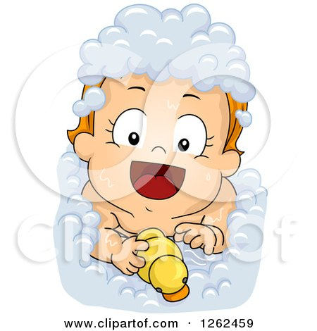 Clipart of a Red Haired White Toddler Baby Girl Taking a Bubble Bath with a Rubber Duck - Royalty Free Vector Illustration by BNP Design Studio