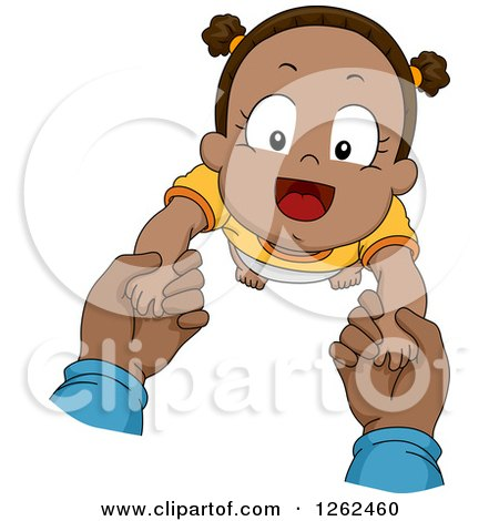 Clipart of White Hands Holding up a Black Toddler Boy While Taking First Steps - Royalty Free Vector Illustration by BNP Design Studio