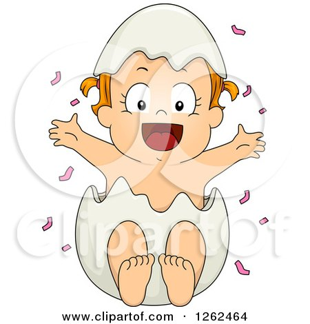 Clipart of a White Toddler Girl Popping out of an Egg Shell with Pink Gender Reveal Confetti - Royalty Free Vector Illustration by BNP Design Studio
