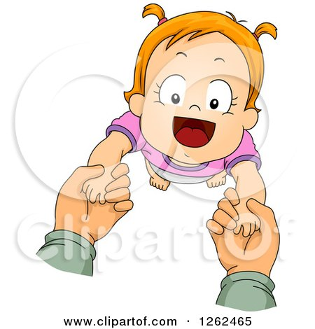 Clipart of Caucasian Hands Helping a Toddler Girl Take Her First Steps - Royalty Free Vector Illustration by BNP Design Studio