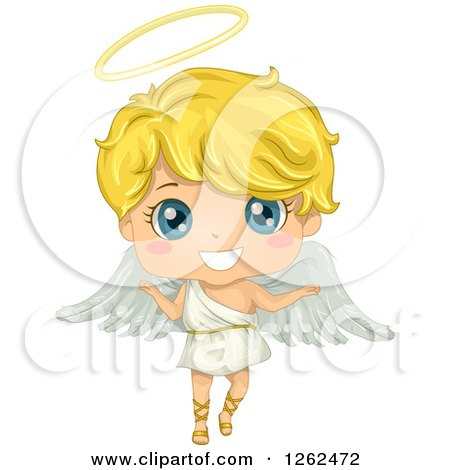 Clipart Of A Cute Blond Angel Boy Royalty Free Vector Illustration