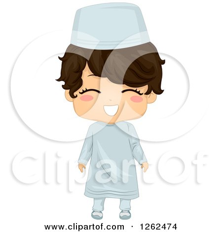 Clipart of a Cute Happy Boy in a Traditional Muslim Costume - Royalty Free Vector Illustration by BNP Design Studio
