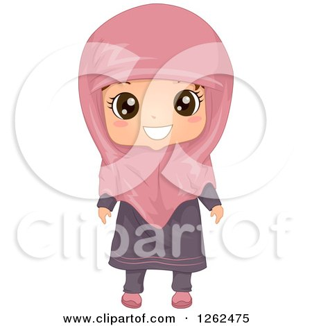 Clipart of a Cute Girl Posing in a Muslim Dress - Royalty Free Vector Illustration by BNP Design Studio