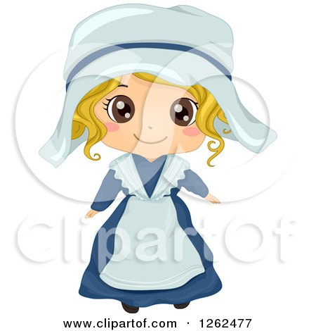Clipart of a Cute Blond White Girl Posing in a French Costume - Royalty Free Vector Illustration by BNP Design Studio