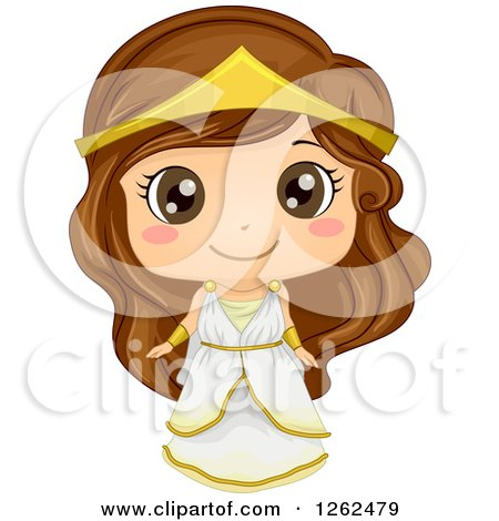 Clipart of a Cute Girl Posing in a Greek Costume - Royalty Free Vector Illustration by BNP Design Studio