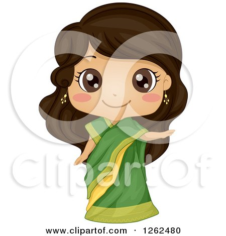 Clipart of a Cute Girl Posing in an Indian Costume - Royalty Free Vector Illustration by BNP Design Studio