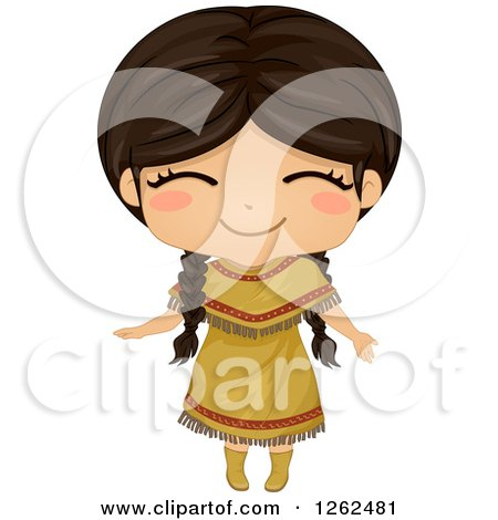 Clipart of a Cute Girl Posing in a Native American Indian Costume| Royalty Free Vector Illustration by BNP Design Studio
