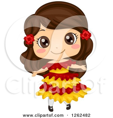 Clipart of a Cute Girl Posing in a Mexican Costume - Royalty Free Vector Illustration by BNP Design Studio