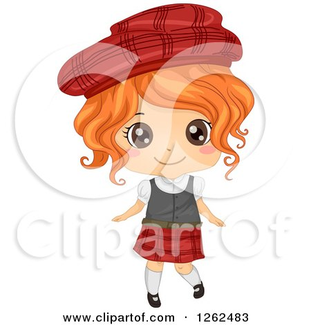 Clipart of a Cute Girl Posing in a Scottish Costume - Royalty Free Vector Illustration by BNP Design Studio