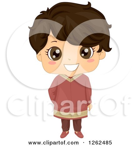 Clipart of a Cute Boy in Traditional Indian Dress - Royalty Free Vector Illustration by BNP Design Studio