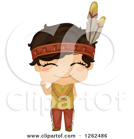 Clipart of a Cute Boy in a Native American Indian Costume - Royalty Free Vector Illustration by BNP Design Studio