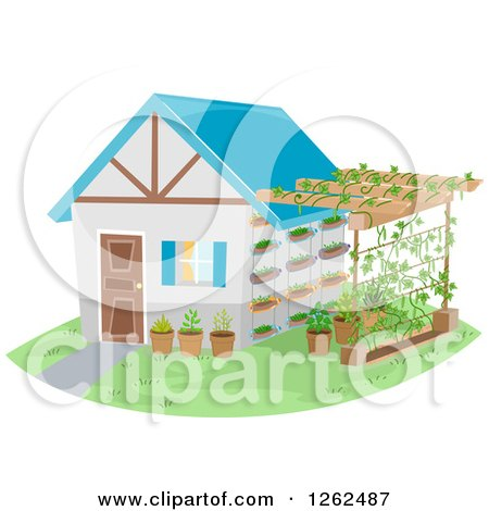 Clipart of a House and Attached Trellis Garden - Royalty Free Vector Illustration by BNP Design Studio