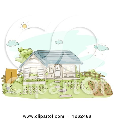 Clipart of a House with a Big Garden in the Yard - Royalty Free Vector Illustration by BNP Design Studio