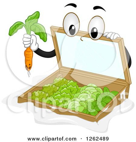 Clipart of a Cold Frame Garden Plucking a Carrot - Royalty Free Vector Illustration by BNP Design Studio