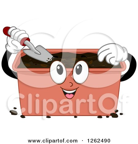 Clipart of a Compost Bin Using a Shovel - Royalty Free Vector Illustration by BNP Design Studio