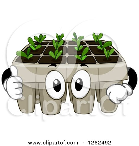 Clipart of a Seedling Plant Tray Giving a Thumb up - Royalty Free Vector Illustration by BNP Design Studio