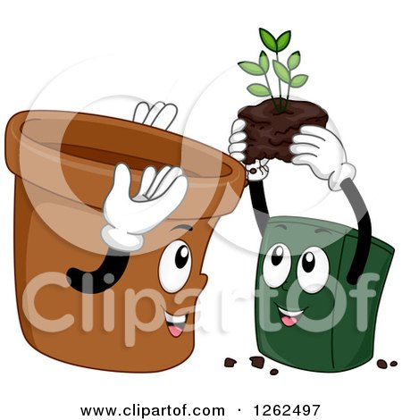 Clipart of Two Pots Exhcanging a Plant - Royalty Free Vector Illustration by BNP Design Studio