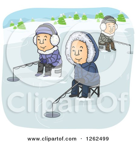 Clipart of Men Ice Fishing on a Frozen Lake - Royalty Free Vector Illustration by BNP Design Studio