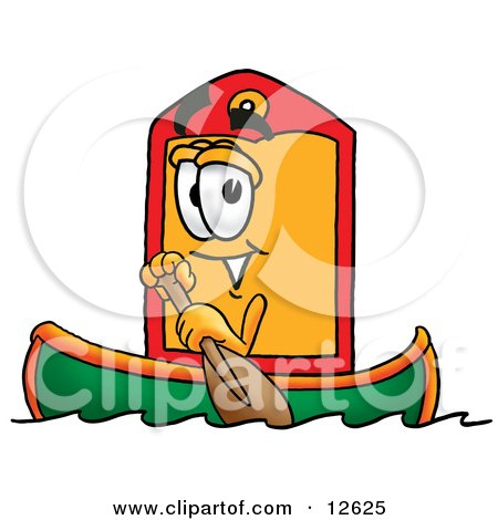 Clipart Picture of a Price Tag Mascot Cartoon Character Rowing a Boat by Toons4Biz