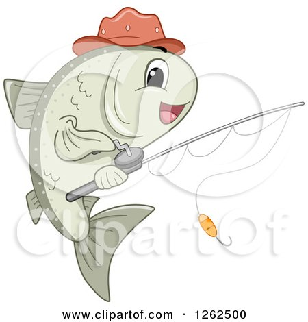 Clipart of a Happy Fish with a Reel - Royalty Free Vector Illustration by BNP Design Studio