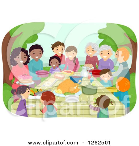 Clipart of People with Food at a Potluck in a Park - Royalty Free Vector Illustration by BNP Design Studio