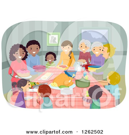 Clipart of Happy People at a Potluck Party - Royalty Free Vector Illustration by BNP Design Studio
