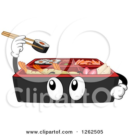 Clipart of a Bento Box Holding up Sushi - Royalty Free Vector Illustration by BNP Design Studio
