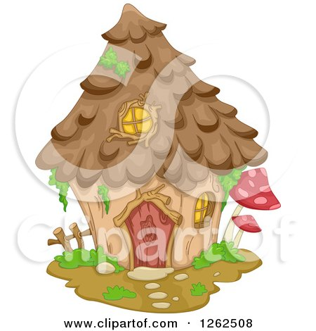 Clipart of a Gnome House with Mushrooms - Royalty Free Vector Illustration by BNP Design Studio