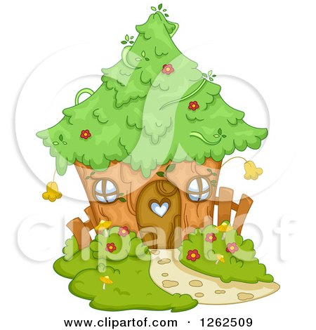 Clipart of a Cute Tree House - Royalty Free Vector Illustration by BNP Design Studio