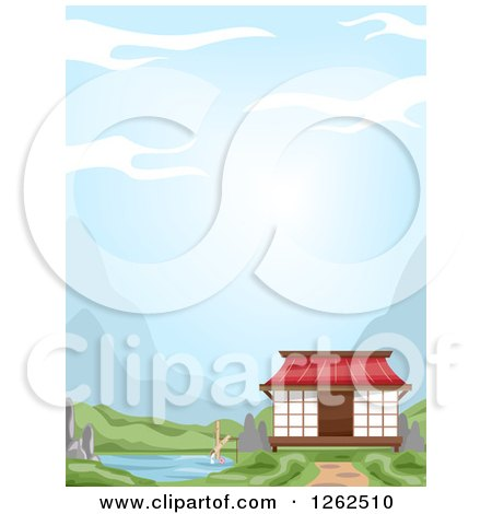 Clipart of an Oriental House on a River - Royalty Free Vector Illustration by BNP Design Studio