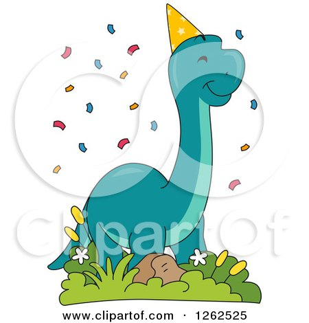 Clipart of a Birthday Brontosaurus Dinosaur with Confetti - Royalty Free Vector Illustration by BNP Design Studio