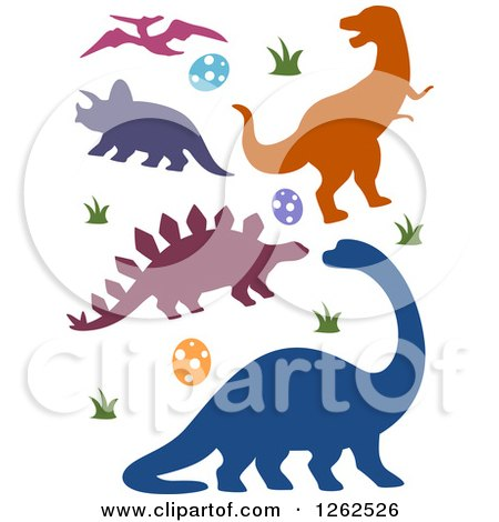 Clipart of Silhouetted Dinosaurs Eggs and Grass - Royalty Free Vector Illustration by BNP Design Studio