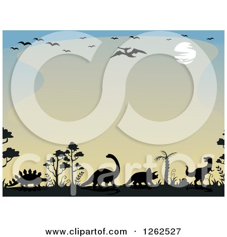 Clipart of a Sunset Background Bordered in Birds and Dinosaurs - Royalty Free Vector Illustration by BNP Design Studio