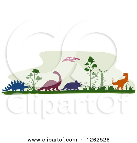 Clipart of Silhouetted Dinosaurs and Trees - Royalty Free Vector Illustration by BNP Design Studio
