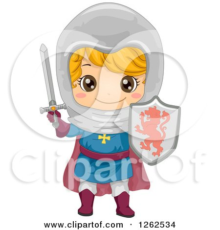 Clipart of a Cute Boy in a Knight Costume - Royalty Free Vector Illustration by BNP Design Studio