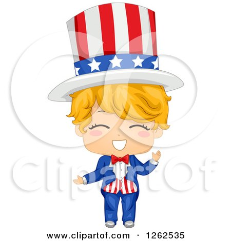 Clipart of a Happy Blond Caucasian American Boy in an Uncle Sam Costume - Royalty Free Vector Illustration by BNP Design Studio