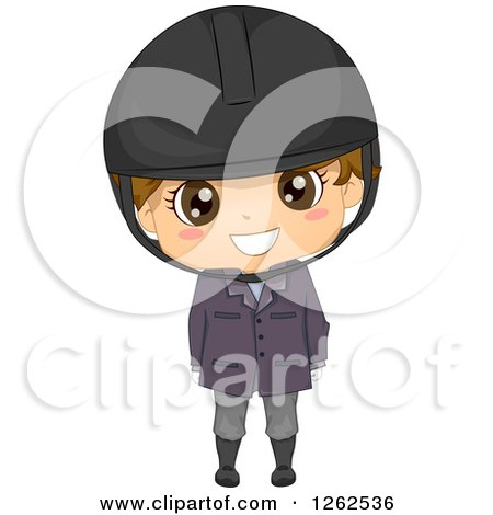 Clipart of a Cute Brunette White Boy in an Equestrian Uniform - Royalty Free Vector Illustration by BNP Design Studio