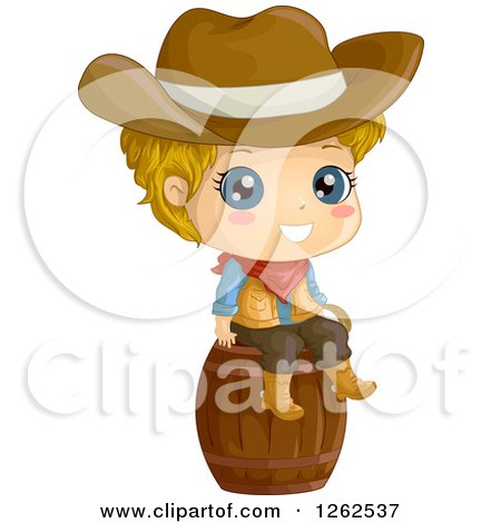 Clipart Of A Cute Blond White Cowboy Sitting On A Barrel Royalty Free Vector Illustration