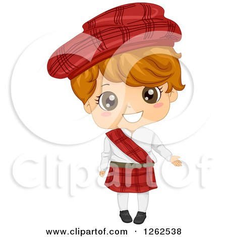 Clipart of a Cute Boy in a Traditional Scottish Costume - Royalty Free Vector Illustration by BNP Design Studio