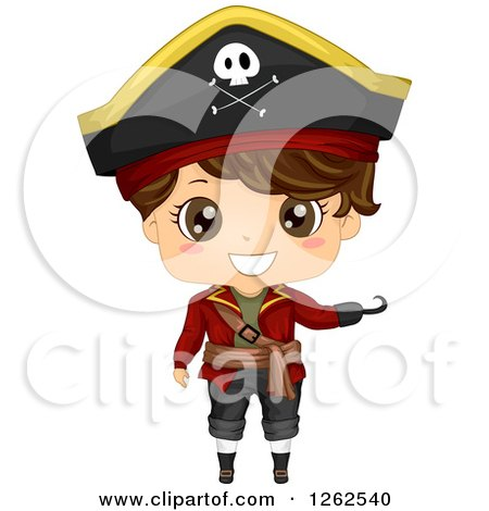 Clipart of a Cute Boy Presenting in a Pirate Costume - Royalty Free Vector Illustration by BNP Design Studio